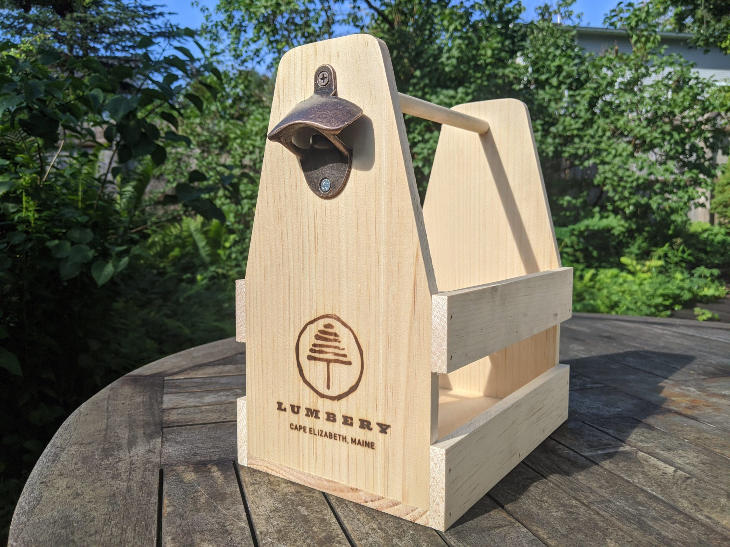 Lumbery Wooden Beer Caddy With Opener